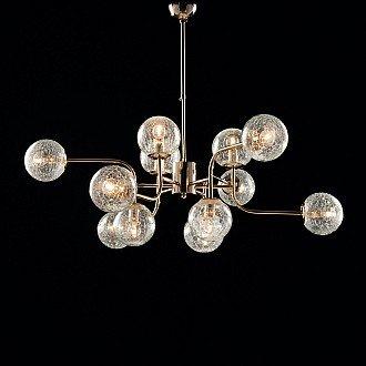 Sospensione Design Moderno Contemporaneo Oro Lucido Con Vetri 12 Luci Ikarus