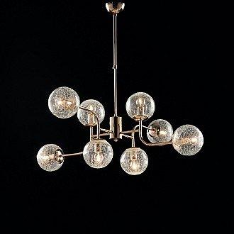 Sospensione Design Moderno Contemporaneo Oro Lucido Con Vetri 8 Luci Ikarus