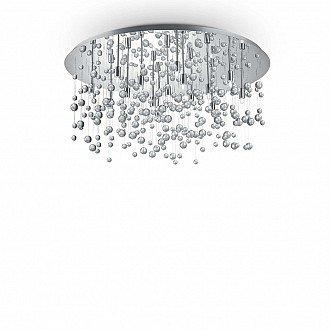 Lampada Da Soffitto 15 Luci Neve In Metallo Cromo E Cristalli A Sfera