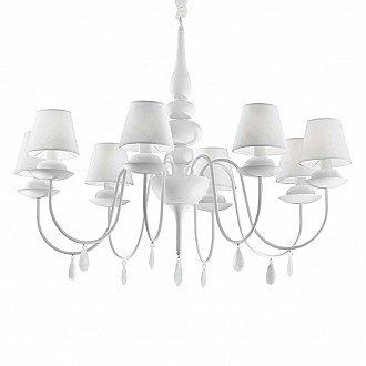 Lampdario A Sospensione A 8 Luci Blanche In Metallo Smaltato Bianco
