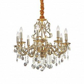 Lampada A Sospensione 8 Luci Gioconda In Metallo Oro E Pendagli In Cristallo
