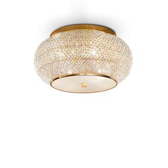 Lampada Da Soffitto 6 Luci Pasha' In Oro E Cristallo Incastonato