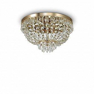 Lampada Da Soffitto 5 Luci Caesar Oro E Cristallo