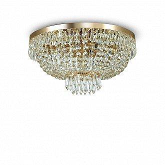 Lampada Da Soffitto 6 Luci Caesar Oro E Cristallo