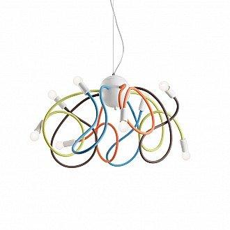 Lampadario A Sospensione 8 Luci Multiflex Con Bracci Di Gomma Multicolor