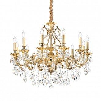 Lampada A Sospensione 12 Luci Gioconda In Metallo Oro E Pendagli In Cristallo