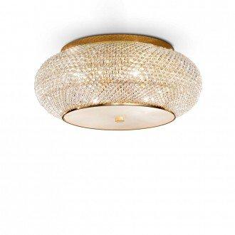 Lampada Da Soffitto 14 Luci Pasha' In Oro E Cristallo Incastonato