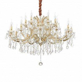Lampadario A Sospensione 16 Luci Napoleon Oro Vetro E Cristallo Trasparente