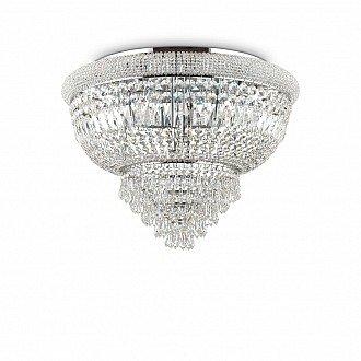 Plafoniera Classica Con Perle E Cristalli D.78 Cromo Serie Dubai