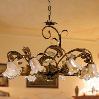 Lampadario classico Cesto 8 luci in ferro marrone e oro con vetro miele