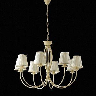 Lampadario classico rustico Botte 8 luci in ferro battuto e paralumi avorio