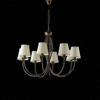 Lampadario classico rustico Botte 8 luci in ferro marrone oro e paralumi avorio