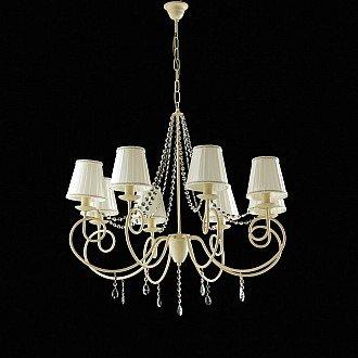 Lampadario classico Elegant 8 luci ferro avorio con cristalli e paralumi avorio