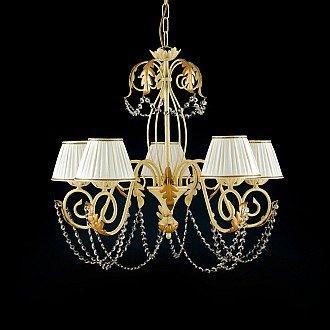 Lampadario Damasco 5 luci in ferro avorio oro con strass e paralumi avorio